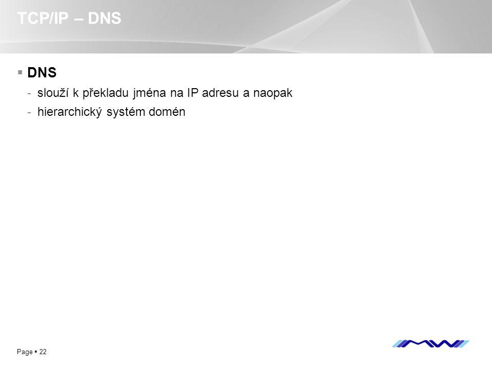 YOUR LOGO Page  22 TCP/IP – DNS  DNS -slouží k překladu jména na IP adresu a naopak -hierarchický systém domén