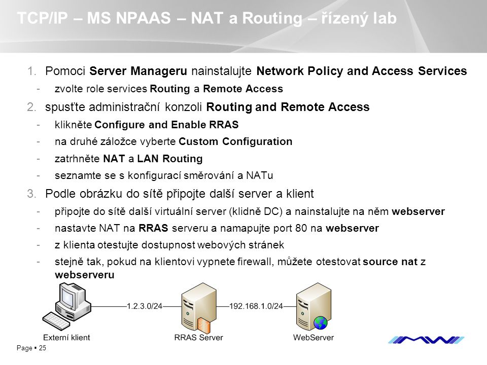 YOUR LOGO Page  25 TCP/IP – MS NPAAS – NAT a Routing – řízený lab 1.Pomoci Server Manageru nainstalujte Network Policy and Access Services -zvolte ro