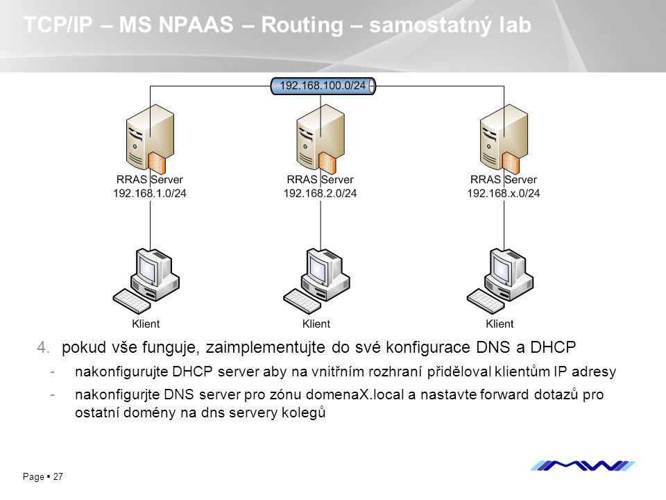 YOUR LOGO Page  27 TCP/IP – MS NPAAS – Routing – samostatný lab 4.pokud vše funguje, zaimplementujte do své konfigurace DNS a DHCP -nakonfigurujte DH