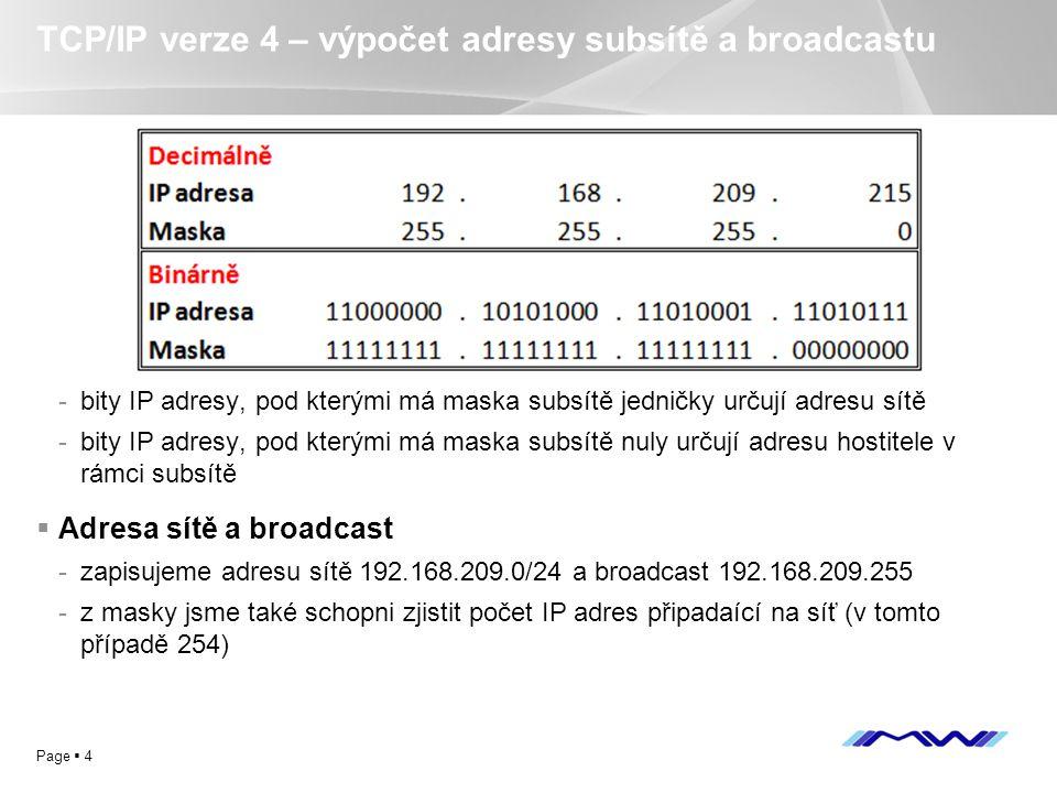 YOUR LOGO Page  4 TCP/IP verze 4 – výpočet adresy subsítě a broadcastu -bity IP adresy, pod kterými má maska subsítě jedničky určují adresu sítě -bit