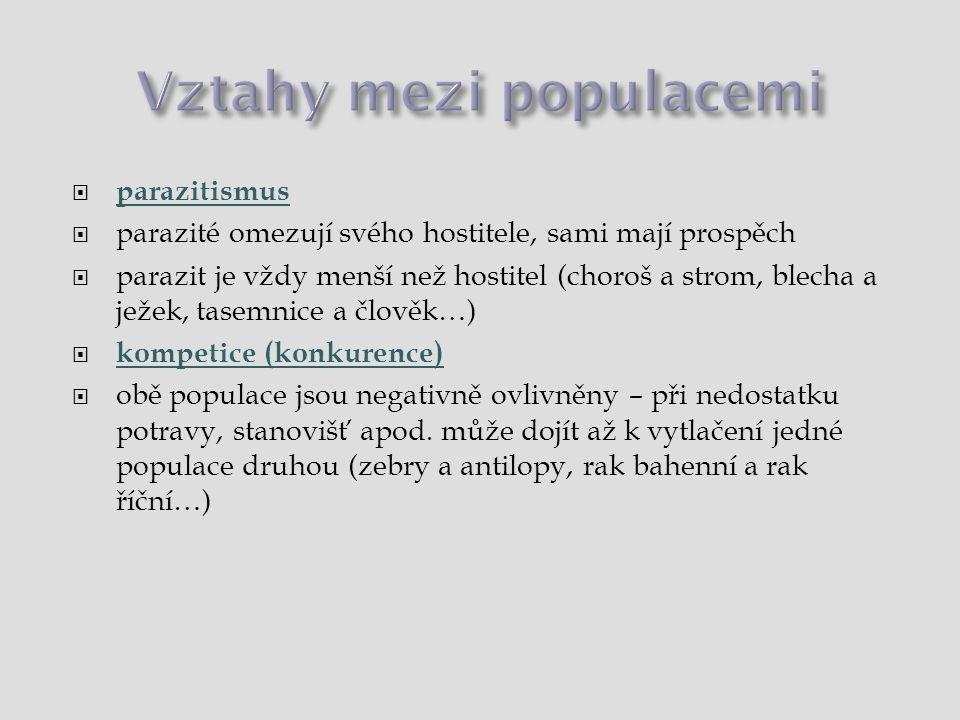 Vztahy mezi populacemi  kladné  protokooperace: oba mají užitek, ale mohou žít nezávisle, dočasné sdružování (pštrosi + zebry, žirafy + sloni)  mutualismus (pravá symbióza): obě prospěch, po oddělení strádají nebo † (zelená řasa + houba = lišejník, rak poustevníček a mořská sasanka)  komenzalismus: jedna populace má prospěch, druhá nedotčena (hyeny nebo supi a velké šelmy)  neutrální  neutralismus: vzájemně se neovlivňují (žába a zajíc)