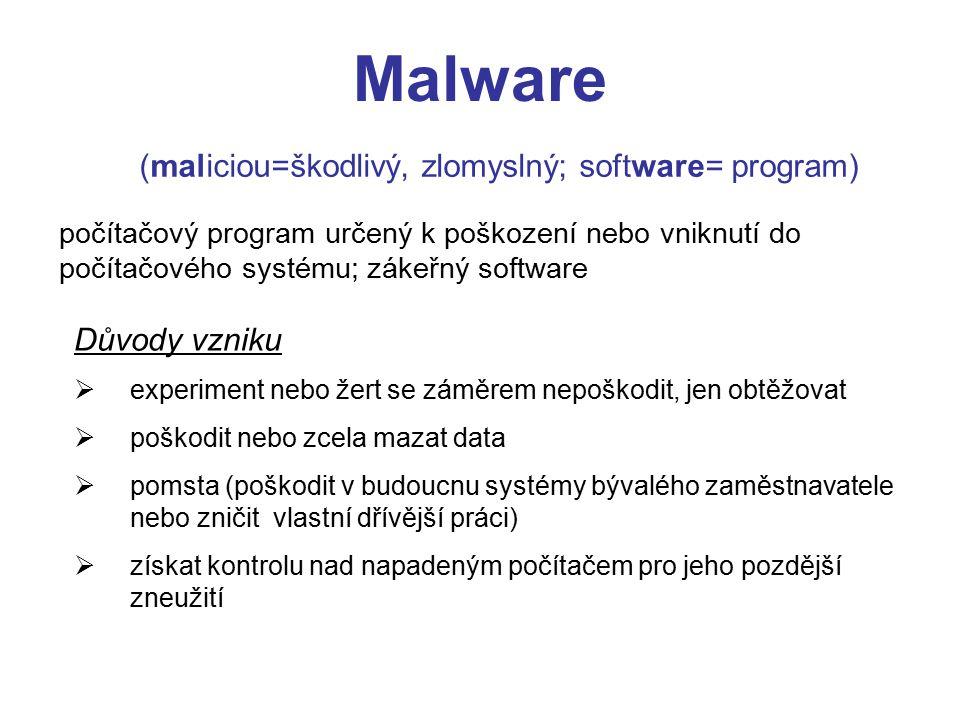  úbytek kapacity HDD  zpomalením chodu systému  změna atributů napadených souborů  zmenšením operační paměti  různé hlášky na obrazovce  náhodné poruchy Projevy zákeřného softwaru Malware