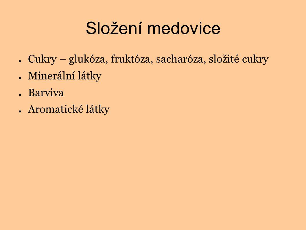 Složení medovice ● Cukry – glukóza, fruktóza, sacharóza, složité cukry ● Minerální látky ● Barviva ● Aromatické látky