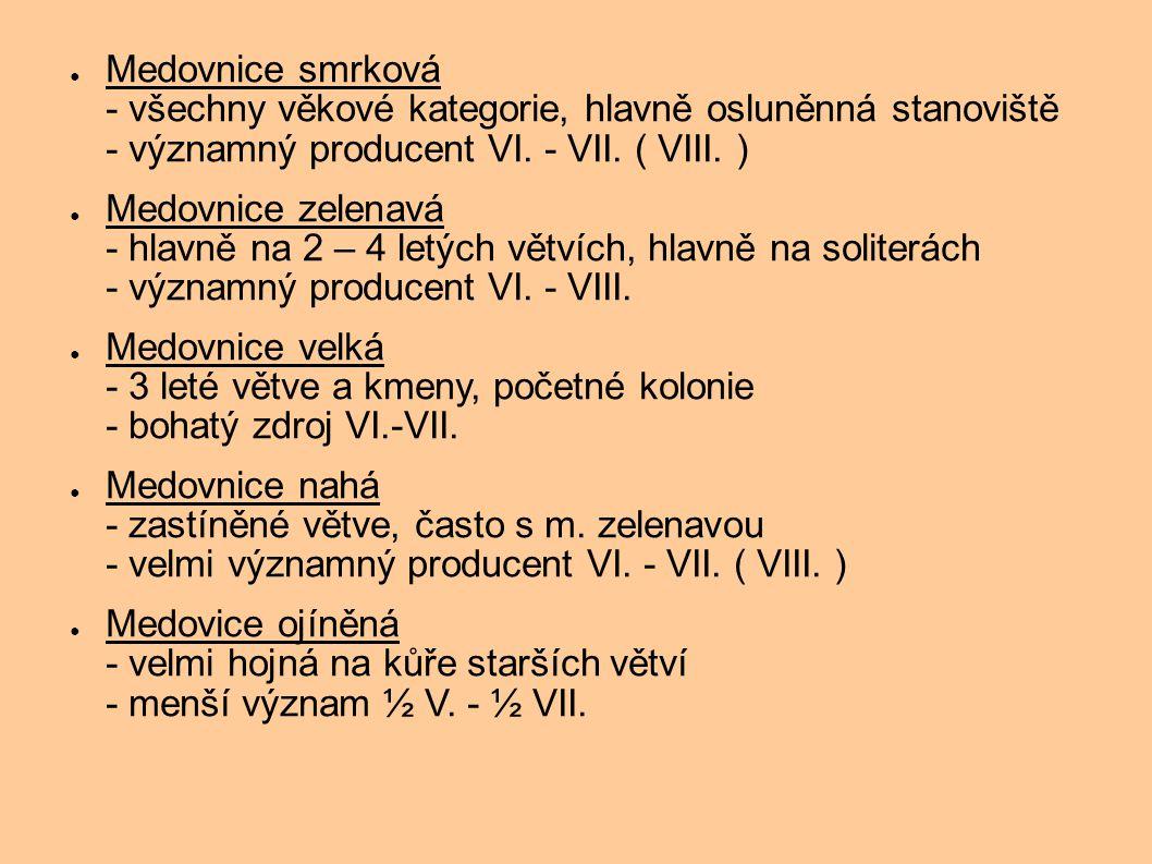● Medovnice smrková - všechny věkové kategorie, hlavně osluněnná stanoviště - významný producent VI. - VII. ( VIII. ) ● Medovnice zelenavá - hlavně na
