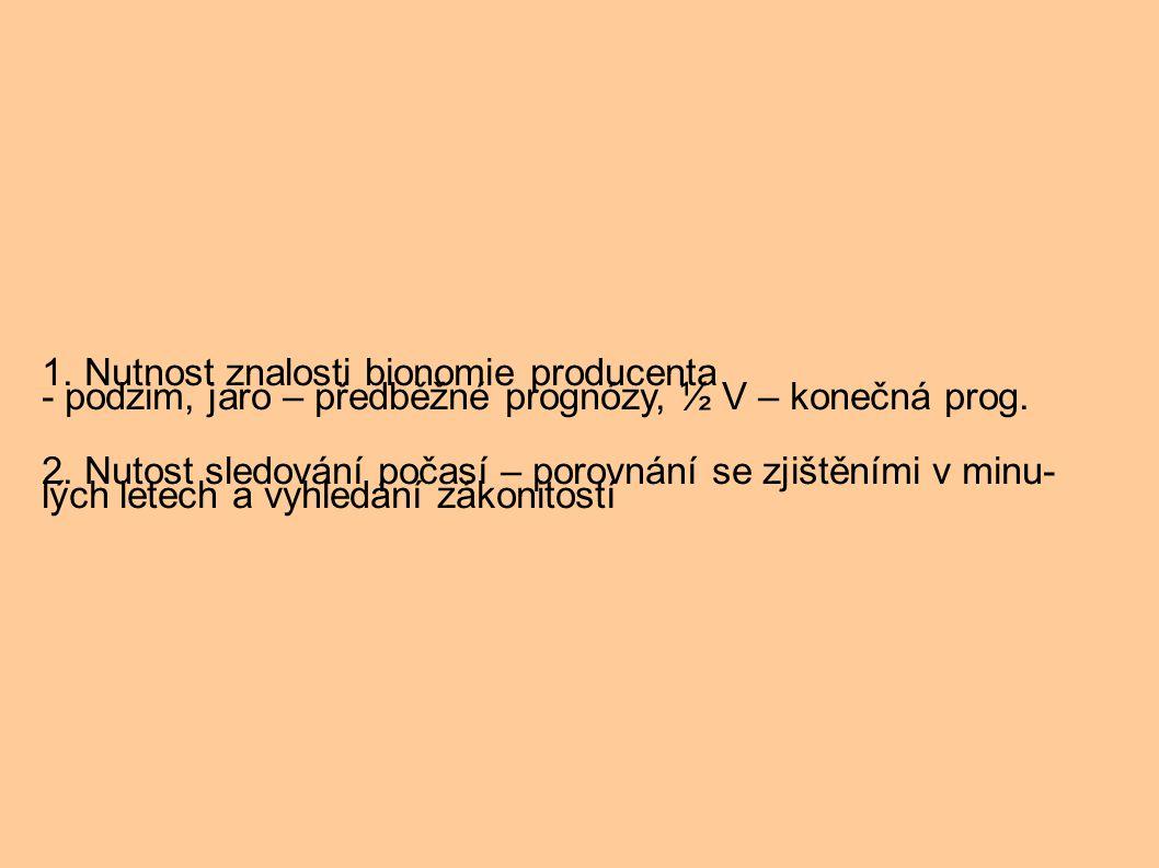 1. Nutnost znalosti bionomie producenta - podzim, jaro – předběžné prognózy, ½ V – konečná prog. 2. Nutost sledování počasí – porovnání se zjištěními