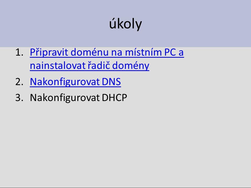 Počáteční konfigurace řadiče domény 1.Přiřadit serveru IP adresu, musí být pevná, ne DHCP!!.