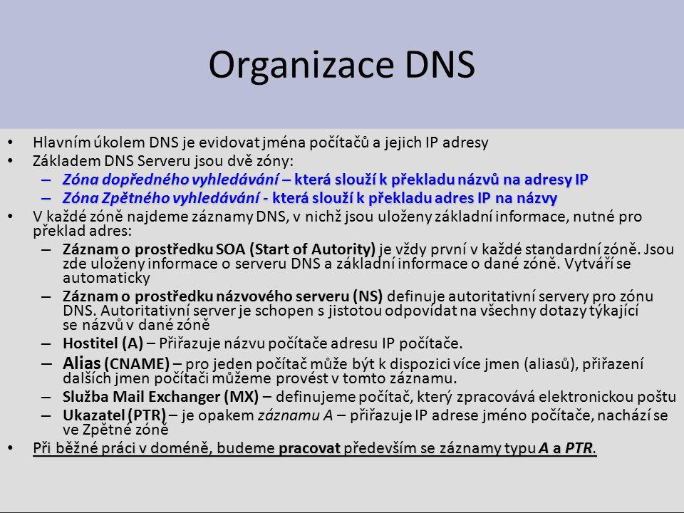 Organizace DNS Hlavním úkolem DNS je evidovat jména počítačů a jejich IP adresy Základem DNS Serveru jsou dvě zóny: – Zóna dopředného vyhledávání – která slouží k překladu názvů na adresy IP – Zóna Zpětného vyhledávání - která slouží k překladu adres IP na názvy V každé zóně najdeme záznamy DNS, v nichž jsou uloženy základní informace, nutné pro překlad adres: – Záznam o prostředku SOA (Start of Autority) je vždy první v každé standardní zóně.