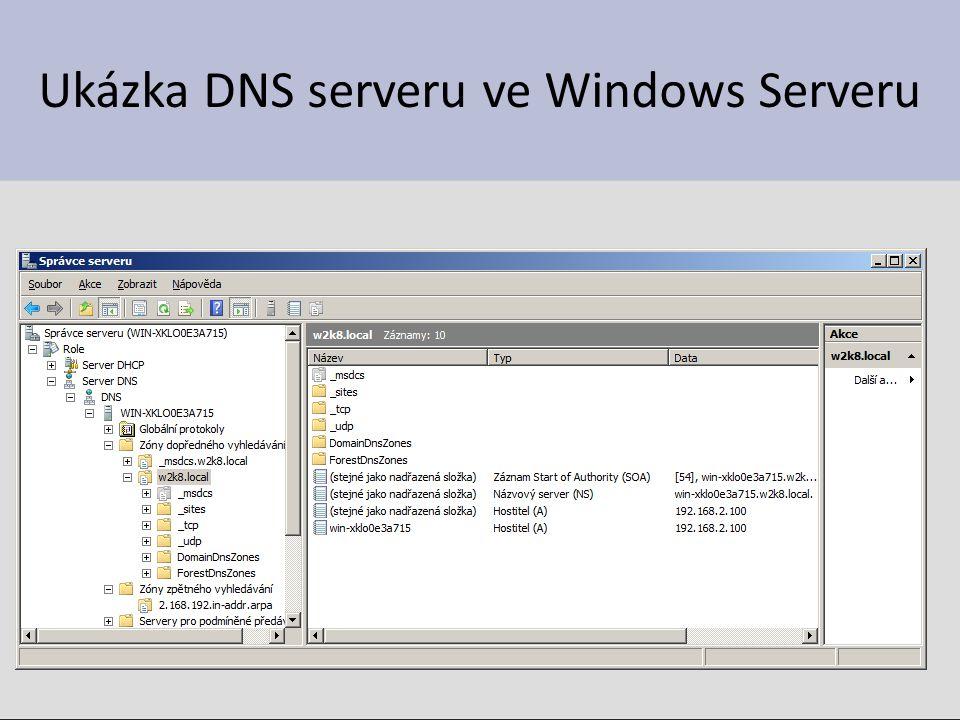 Vytváření zón Vytvoření zpětné zóny – Pravá klávesa myši na Zóny zpětného vyhledávání / Nová zóna, zde se spustí průvodce – Pokud máme pouze jeden DNS server, stačí potvrdit předvolené možnosti – Pouze je nutné zadat adresu sítě, k níž se zpětná zóna vytváří