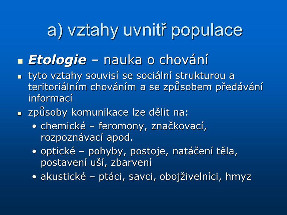a) vztahy uvnitř populace Etologie – nauka o chování Etologie – nauka o chování tyto vztahy souvisí se sociální strukturou a teritoriálním chováním a