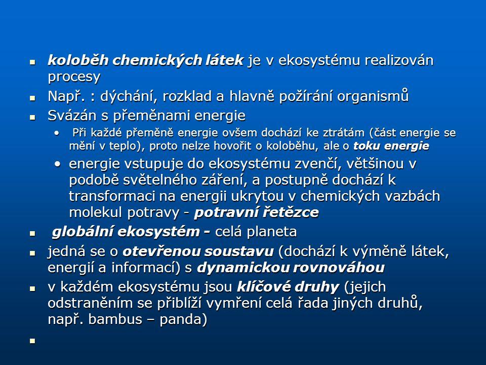 koloběh chemických látek je v ekosystému realizován procesy koloběh chemických látek je v ekosystému realizován procesy Např. : dýchání, rozklad a hla