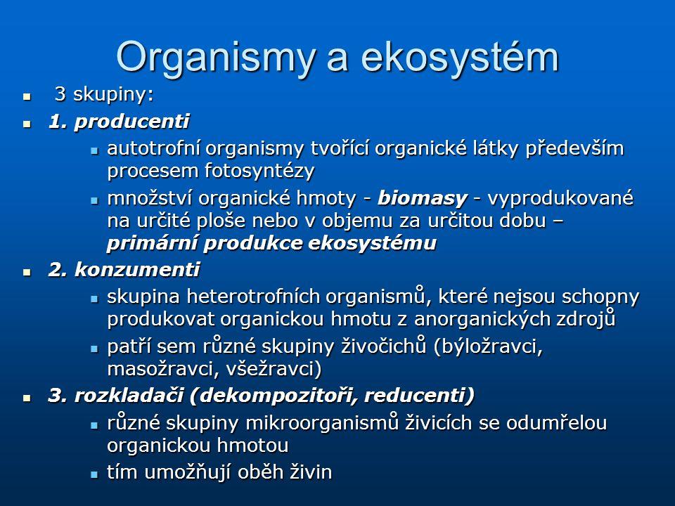 Organismy a ekosystém 3 skupiny: 3 skupiny: 1. producenti 1. producenti autotrofní organismy tvořící organické látky především procesem fotosyntézy au