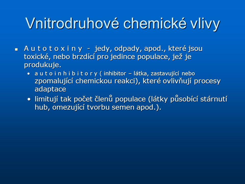 Vnitrodruhové chemické vlivy A u t o t o x i n y - jedy, odpady, apod., které jsou toxické, nebo brzdící pro jedince populace, jež je produkuje. A u t