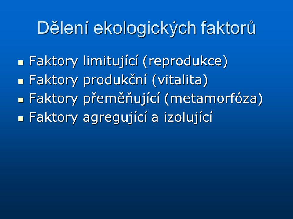 Dělení ekologických faktorů Faktory limitující (reprodukce) Faktory limitující (reprodukce) Faktory produkční (vitalita) Faktory produkční (vitalita)