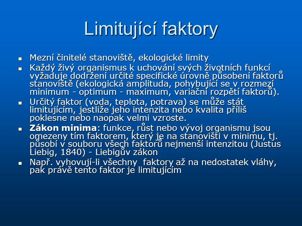 Limitující faktory Mezní činitelé stanoviště, ekologické limity Mezní činitelé stanoviště, ekologické limity Každý živý organismus k uchování svých ži