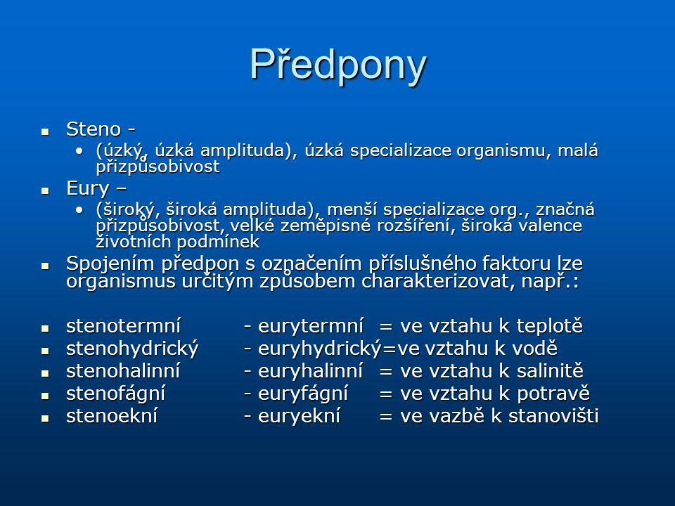Předpony Steno - Steno - (úzký, úzká amplituda), úzká specializace organismu, malá přizpůsobivost(úzký, úzká amplituda), úzká specializace organismu,