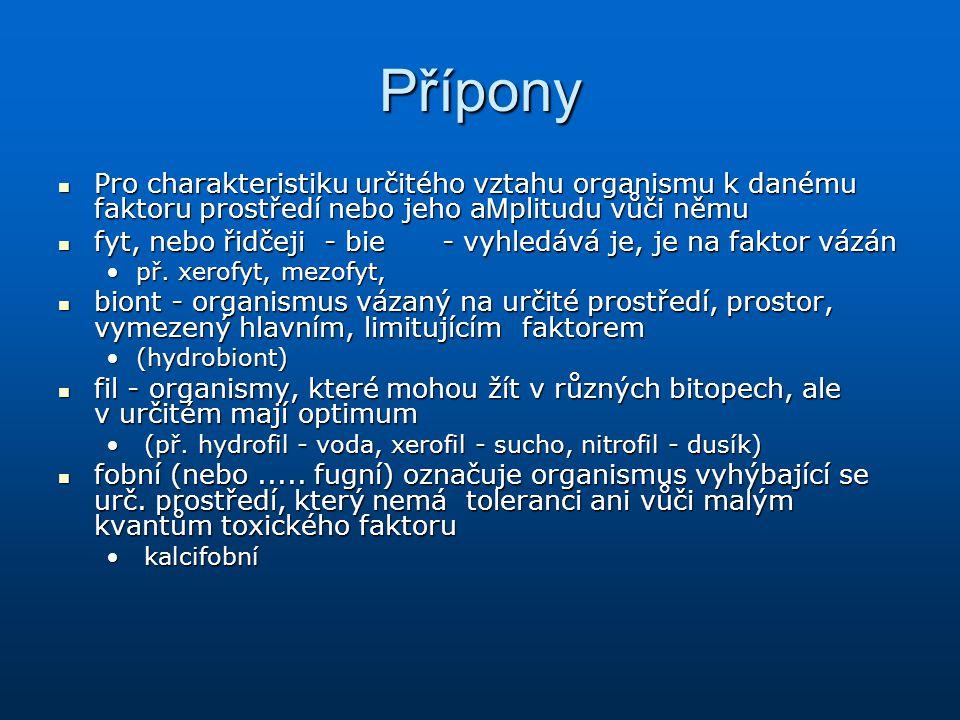 Přípony Pro charakteristiku určitého vztahu organismu k danému faktoru prostředí nebo jeho a M plitudu vůči němu Pro charakteristiku určitého vztahu o