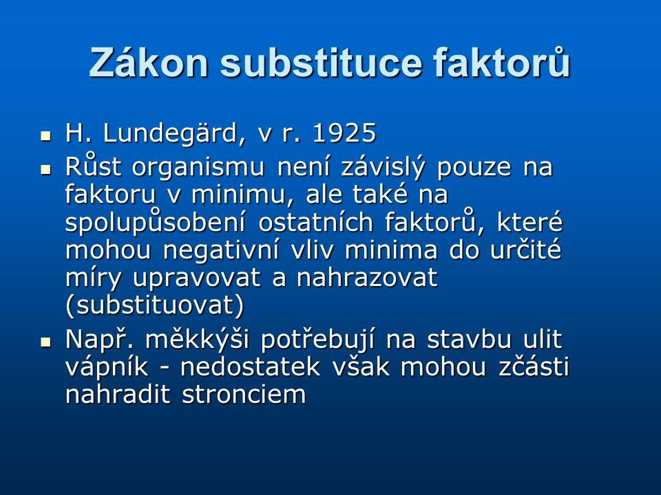 Zákon substituce faktorů H. Lundegärd, v r. 1925 H. Lundegärd, v r. 1925 Růst organismu není závislý pouze na faktoru v minimu, ale také na spolupůsob