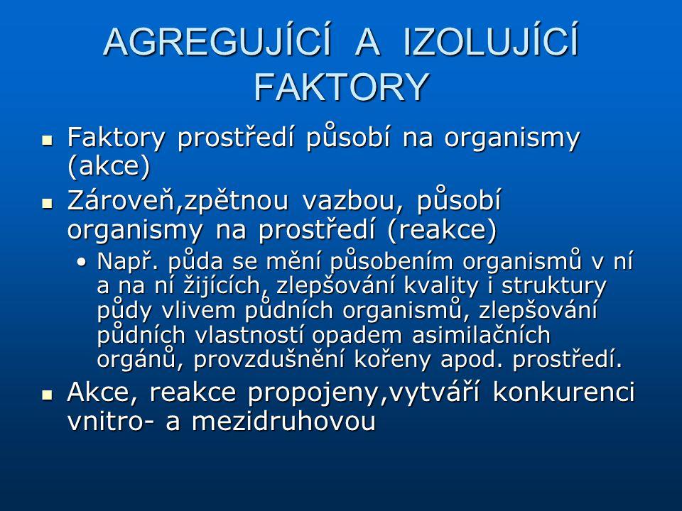 AGREGUJÍCÍ A IZOLUJÍCÍ FAKTORY Faktory prostředí působí na organismy (akce) Faktory prostředí působí na organismy (akce) Zároveň,zpětnou vazbou, působ