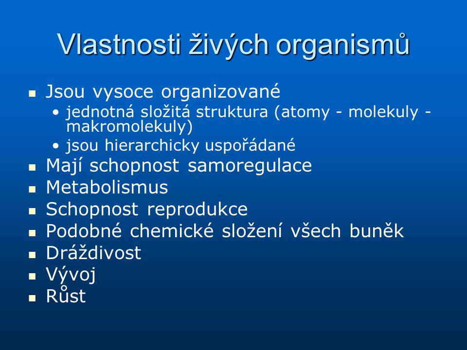 Vlastnosti živých organismů Jsou vysoce organizované jednotná složitá struktura (atomy - molekuly - makromolekuly) jsou hierarchicky uspořádané Mají s