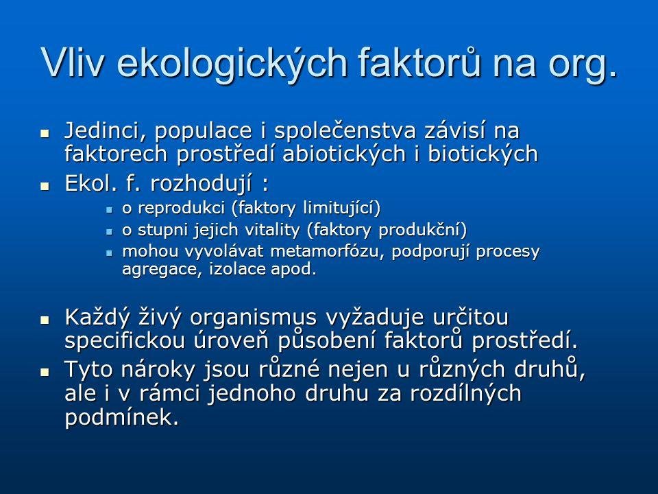 Vliv ekologických faktorů na org. Jedinci, populace i společenstva závisí na faktorech prostředí abiotických i biotických Jedinci, populace i společen