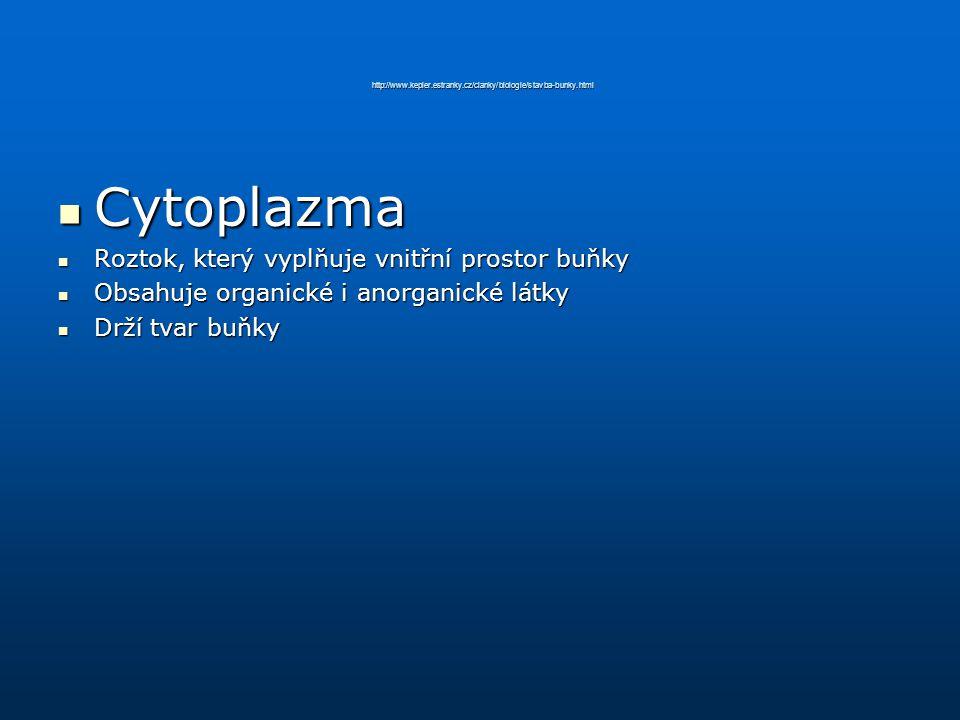 http://www.kepler.estranky.cz/clanky/biologie/stavba-bunky.html Cytoplazma Cytoplazma Roztok, který vyplňuje vnitřní prostor buňky Roztok, který vyplň