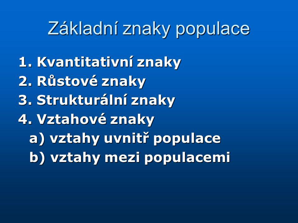 Základní znaky populace 1. Kvantitativní znaky 2. Růstové znaky 3. Strukturální znaky 4. Vztahové znaky a) vztahy uvnitř populace b) vztahy mezi popul