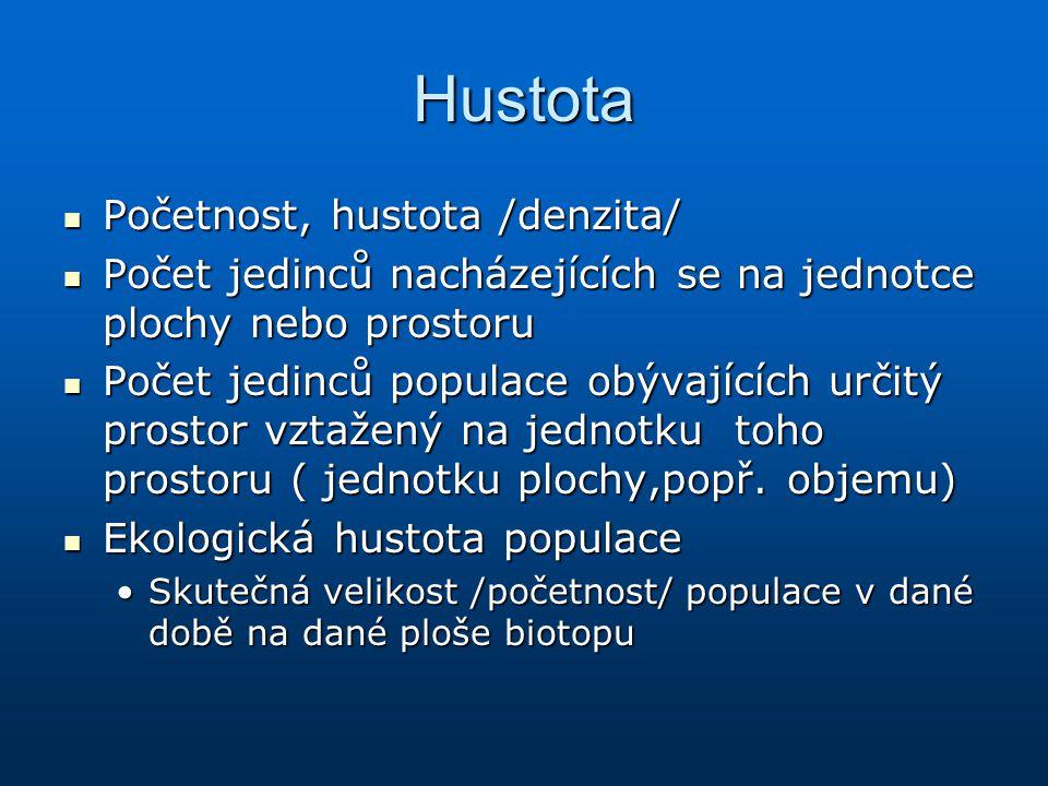 Hustota Početnost, hustota /denzita/ Početnost, hustota /denzita/ Počet jedinců nacházejících se na jednotce plochy nebo prostoru Počet jedinců nacház