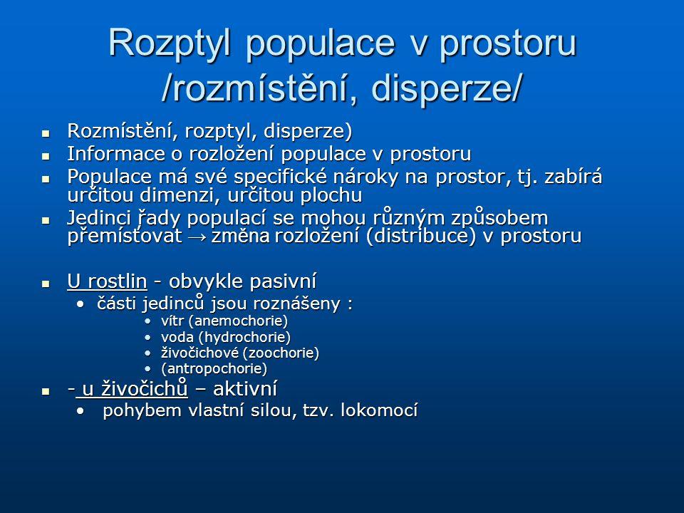 Rozptyl populace v prostoru /rozmístění, disperze/ Rozmístění, rozptyl, disperze) Rozmístění, rozptyl, disperze) Informace o rozložení populace v pros
