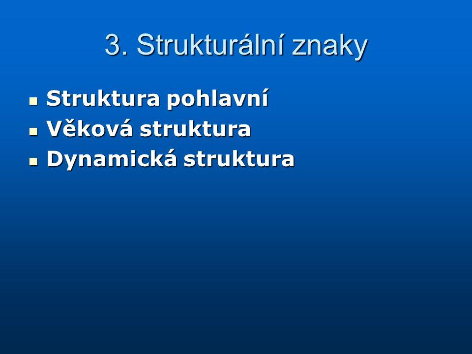 3. Strukturální znaky Struktura pohlavní Struktura pohlavní Věková struktura Věková struktura Dynamická struktura Dynamická struktura
