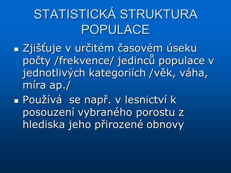 STATISTICKÁ STRUKTURA POPULACE Zjišťuje v určitém časovém úseku počty /frekvence/ jedinců populace v jednotlivých kategoriích /věk, váha, míra ap./ Zj