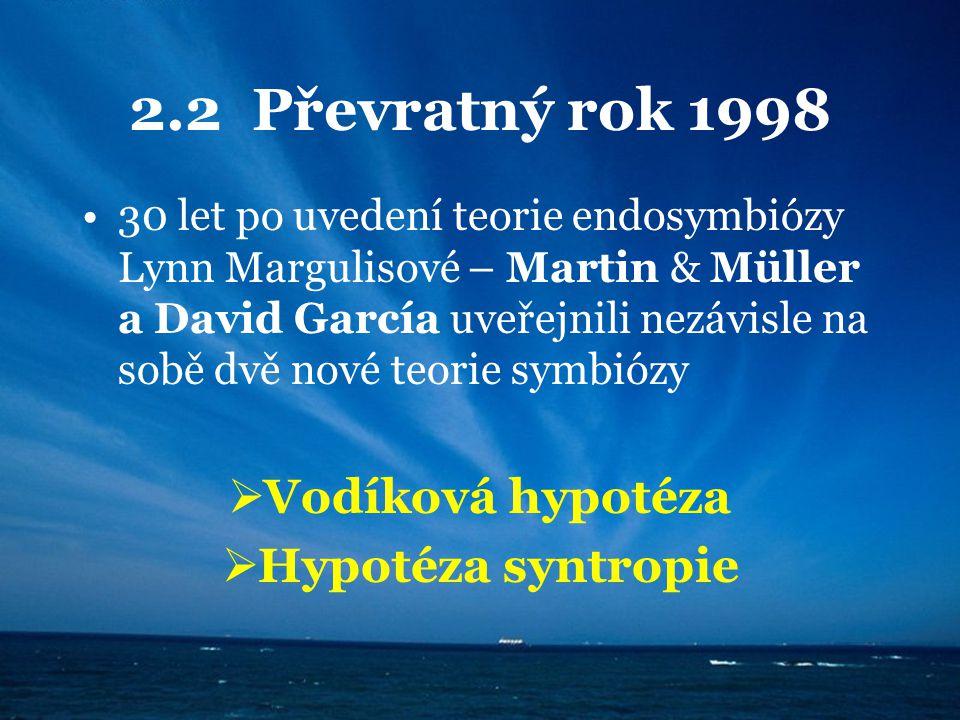 2.2 Převratný rok 1998 30 let po uvedení teorie endosymbiózy Lynn Margulisové – Martin & Müller a David García uveřejnili nezávisle na sobě dvě nové t