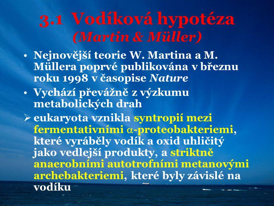3.1 Vodíková hypotéza (Martin & Müller) Nejnovější teorie W. Martina a M. Müllera poprvé publikována v březnu roku 1998 v časopise Nature Vychází přev