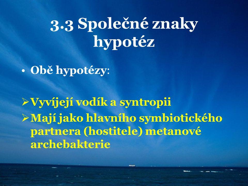 3.3 Společné znaky hypotéz Obě hypotézy:  Vyvíjejí vodík a syntropii  Mají jako hlavního symbiotického partnera (hostitele) metanové archebakterie