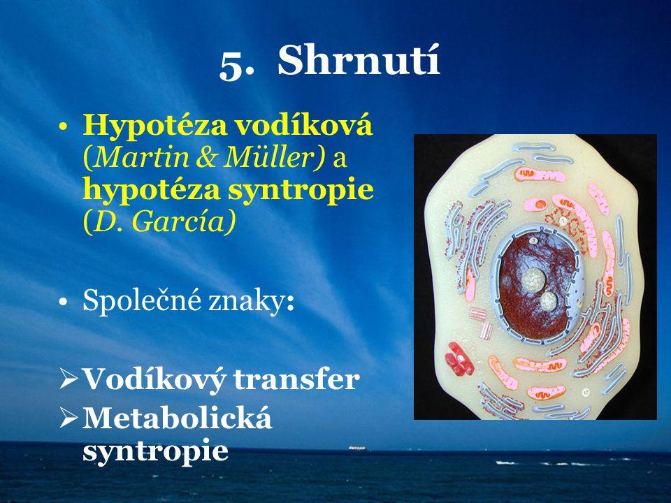 5. Shrnutí Hypotéza vodíková (Martin & Müller) a hypotéza syntropie (D. García) Společné znaky:  Vodíkový transfer  Metabolická syntropie