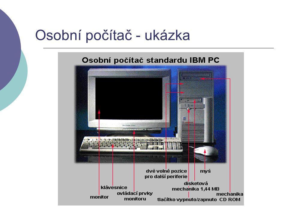 Části počítače - hardware  krabice se zdrojem napětí (spínaný zdroj)  základní deska (MotherBoard, MainBoard, ChipSet) - zde je umístěn procesor, paměť, sběrnice a rozhraní pro připojení dalších částí.