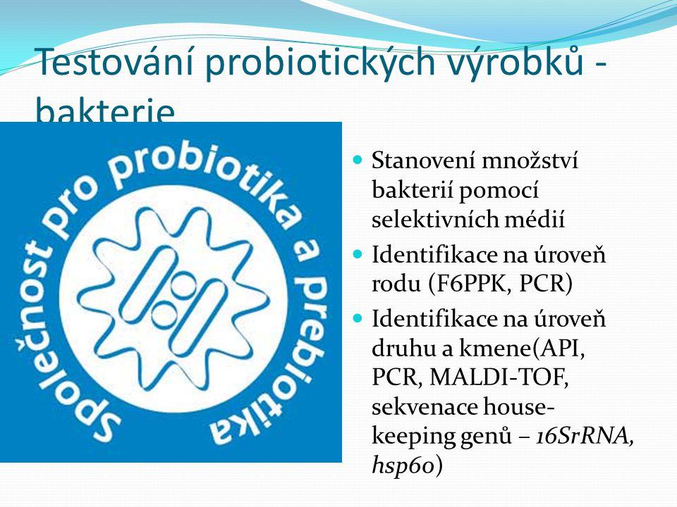 Testování probiotických výrobků - bakterie Stanovení množství bakterií pomocí selektivních médií Identifikace na úroveň rodu (F6PPK, PCR) Identifikace na úroveň druhu a kmene(API, PCR, MALDI-TOF, sekvenace house- keeping genů – 16SrRNA, hsp60)