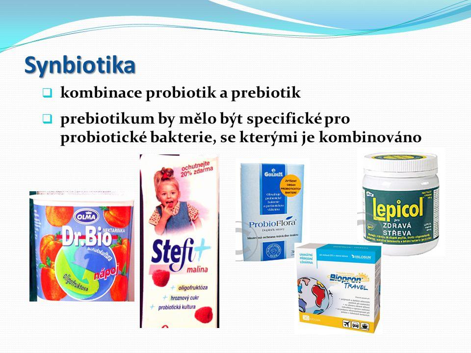 """Probiotika, prebiotika, synbiotika """" Probiotika jsou mono- nebo směsné kultury živých mikroorganizmů, které po aplikaci prospěšně ovlivňují hostitele zlepšením vlastností jeho vlastní mikroflóry. (FAO/WHO, 2001) Prebiotika jsou nestravitelné složky potravy, které příznivě ovlivňují hostitele pomocí selektivního rozvoje a/nebo aktivity pozitivně působících bakterií v tlustém střevě, což může zlepšit zdraví hostitele. (Gibson a Roberfroid, 1995) Synbiotika jsou kombinace probiotik a prebiotik"""