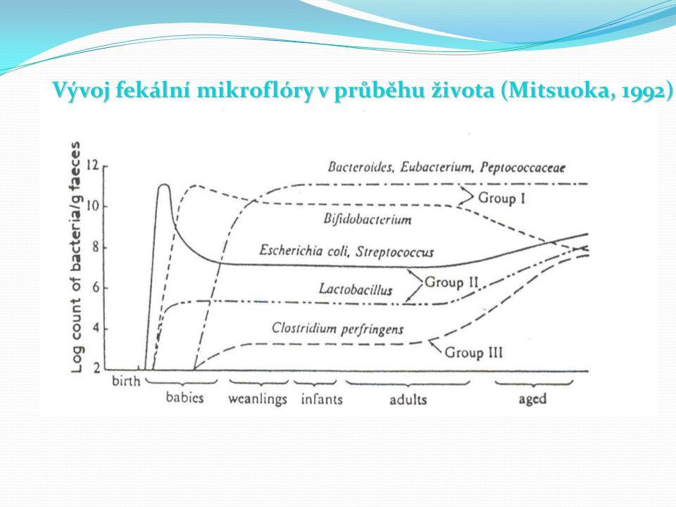 Vývoj fekální mikroflóry v průběhu života (Mitsuoka, 1992)