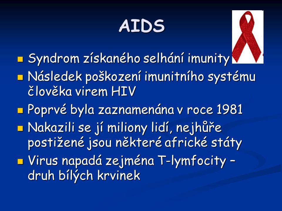 AIDS Syndrom získaného selhání imunity Syndrom získaného selhání imunity Následek poškození imunitního systému člověka virem HIV Následek poškození im