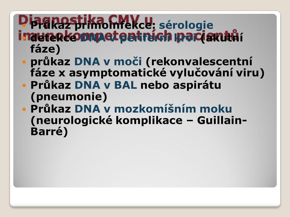 Diagnostika CMV u imunokompetentních pacientů Průkaz primoinfekce: sérologie detekce DNA v periferní krvi (akutní fáze) průkaz DNA v moči (rekonvalesc