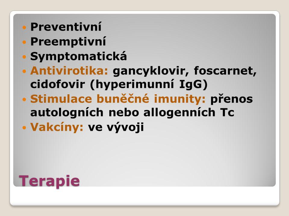 Terapie Preventivní Preemptivní Symptomatická Antivirotika: gancyklovir, foscarnet, cidofovir (hyperimunní IgG) Stimulace buněčné imunity: přenos auto