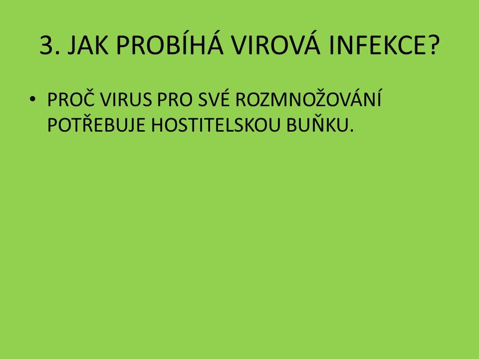 3. JAK PROBÍHÁ VIROVÁ INFEKCE PROČ VIRUS PRO SVÉ ROZMNOŽOVÁNÍ POTŘEBUJE HOSTITELSKOU BUŇKU.