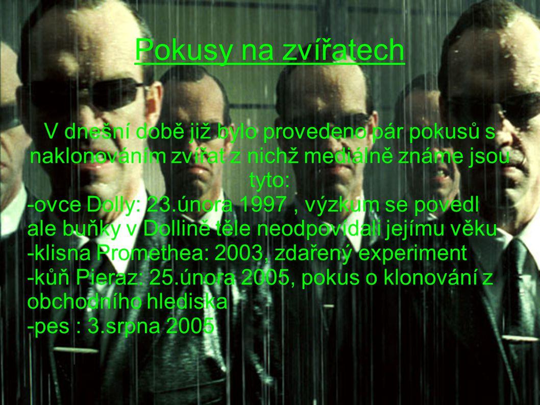 Zdroje Informace byli převzaty z článku na serveru wikipedie: http://cs.wikipedia.org/wiki/Klonov%C3%A1n%C3 %AD http://cs.wikipedia.org/wiki/Klonov%C3%A1n%C3 %AD a z blogu http://executioner.blog.cz/0704/klonovani