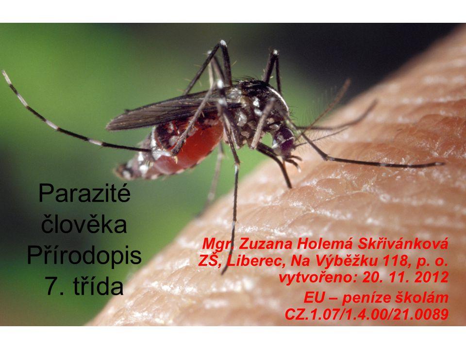 Parazité člověka Přírodopis 7.třída Mgr. Zuzana Holemá Skřivánková ZŠ, Liberec, Na Výběžku 118, p.
