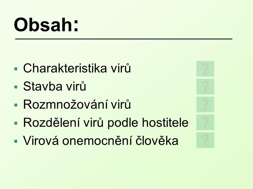 Obsah :  Charakteristika virů  Stavba virů  Rozmnožování virů  Rozdělení virů podle hostitele  Virová onemocnění člověka