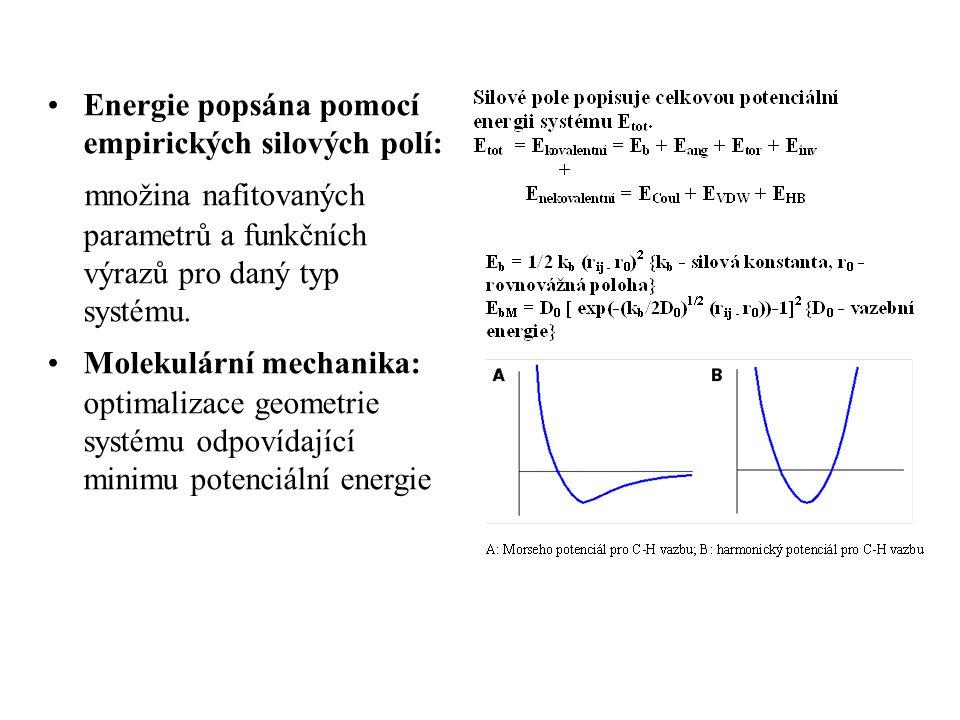 Energie popsána pomocí empirických silových polí: množina nafitovaných parametrů a funkčních výrazů pro daný typ systému.