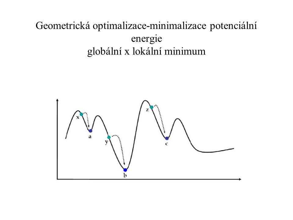 Geometrická optimalizace-minimalizace potenciální energie globální x lokální minimum E