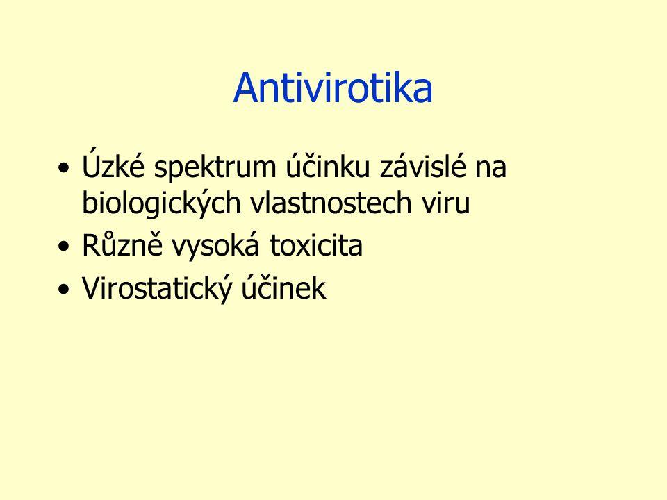 Antivirotika Úzké spektrum účinku závislé na biologických vlastnostech viru Různě vysoká toxicita Virostatický účinek