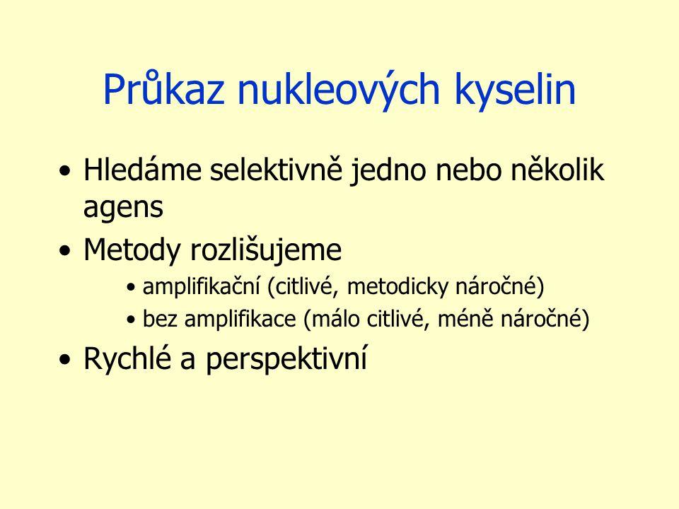 Průkaz nukleových kyselin Hledáme selektivně jedno nebo několik agens Metody rozlišujeme amplifikační (citlivé, metodicky náročné) bez amplifikace (má