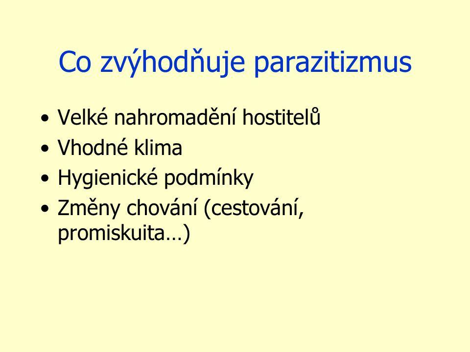 Co zvýhodňuje parazitizmus Velké nahromadění hostitelů Vhodné klima Hygienické podmínky Změny chování (cestování, promiskuita…)
